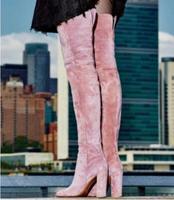 2018 розовые черные кожаные облегающие высокие сапоги женская зимняя обувь до колена женские сапоги массивный каблук женские сапоги выше кол