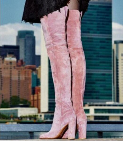 2018 Rose Noir Cuissardes En Cuir Femmes Chaussures D'hiver Genou Haute Feminina Bota Talons Chunky Femmes Sur les Bottes Au Genou