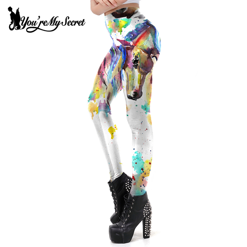 [You're My Secret] Classic China Style Horse Printed Women's   Leggings   For Fitness Sexy Slim Work Out   Legging   Fashion Women Pants