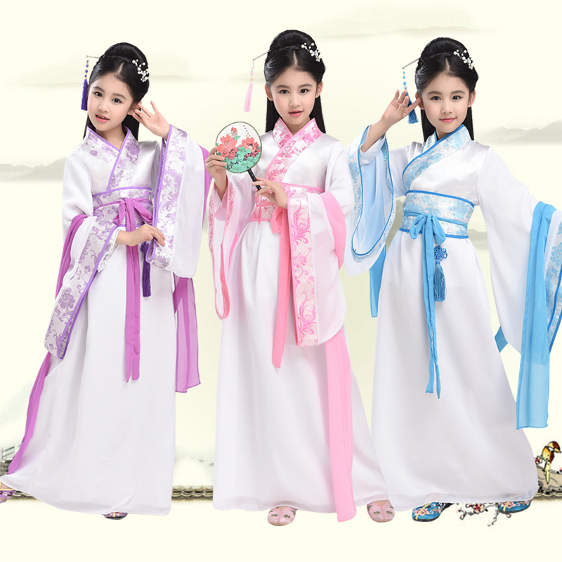 2018 Children Traditional Ancient Chinese Costume Silk Clothing Girls Hanfu Chinese Dance Costumes Kids Tang Fairy Dress DN2118