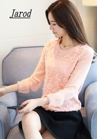 2017 Spring Korean Style Women Long Sleeve Casual Shirt Top Quality Patchwork Lace Chiffon Blouse Tops