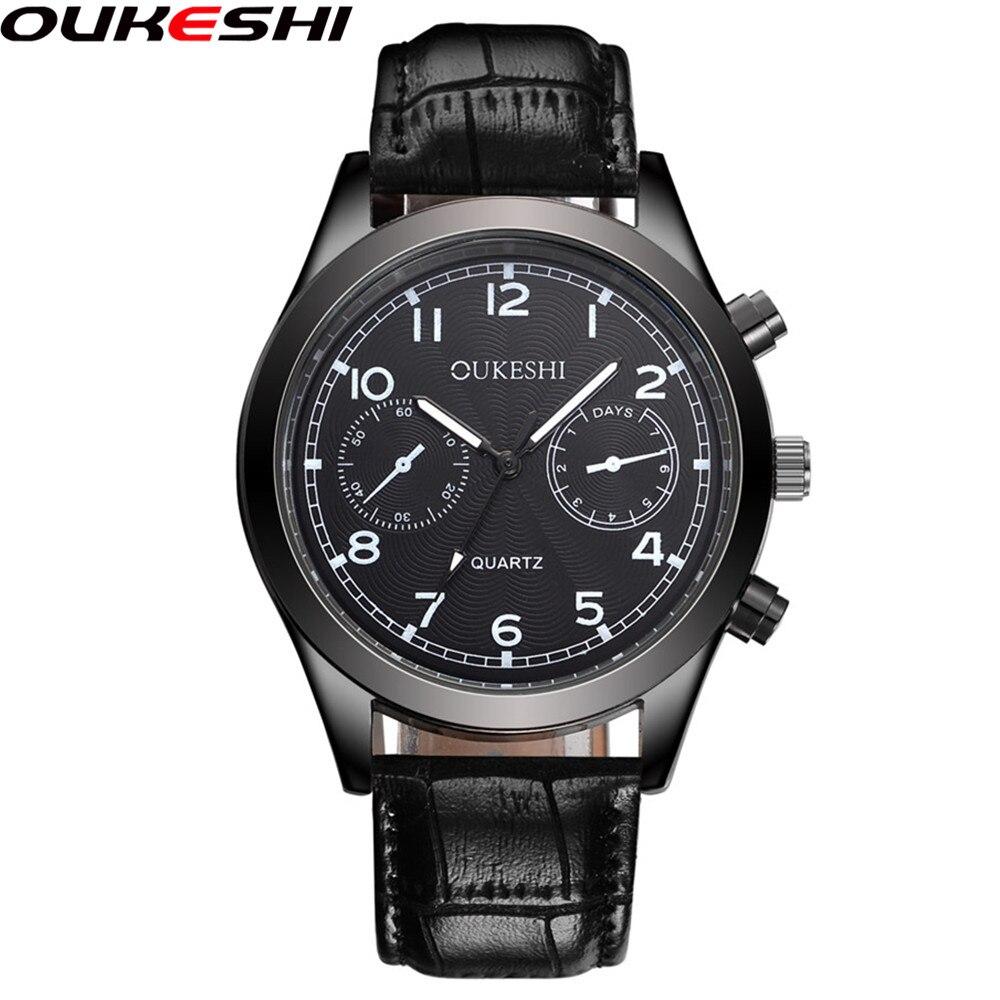 2017 OUKESHI Brand Fashion Quartz Watch Top Brand Luxury Leather Men Clock Business Quartz Wrist Watch