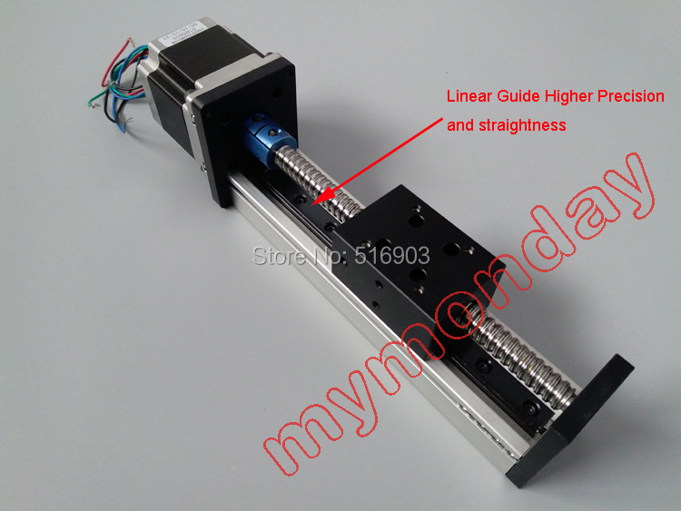 Free Shipping Effective Travel 100mm 400mm SGX1204 Ball Screw Linear Guide Moving Table Slide Rail 42