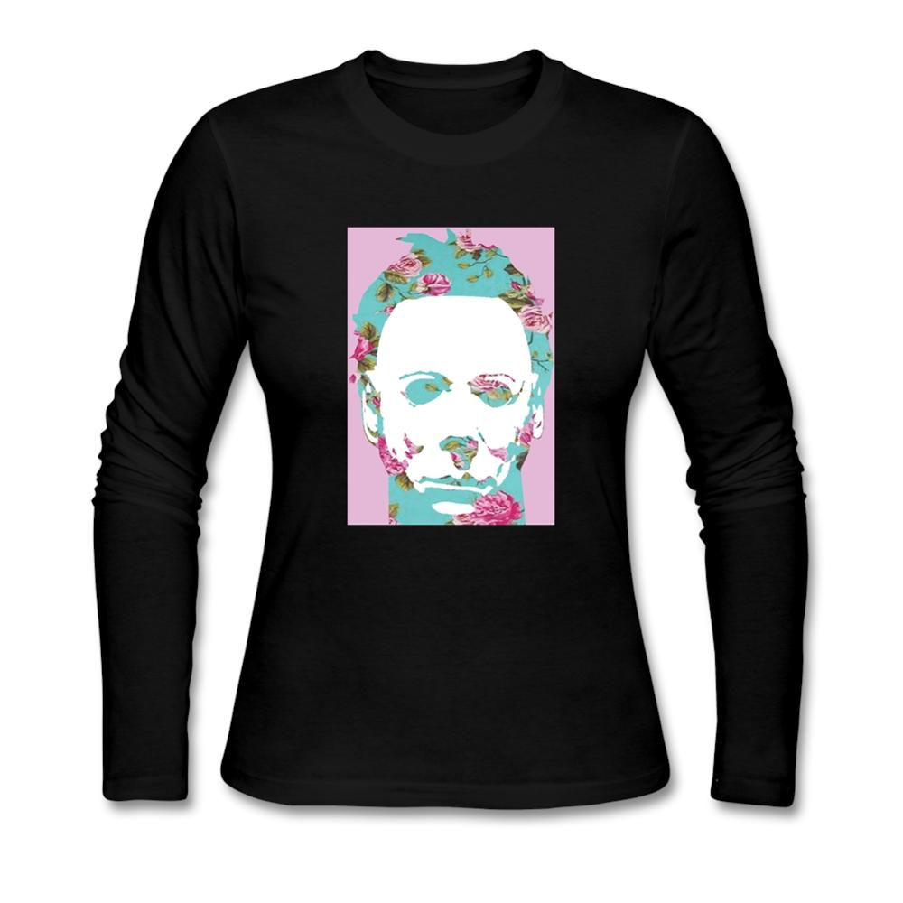 Black t shirt michaels - Pop Art Floral Michael Myer T Shirt Woman Printed O Neck Long Leeve Shirt