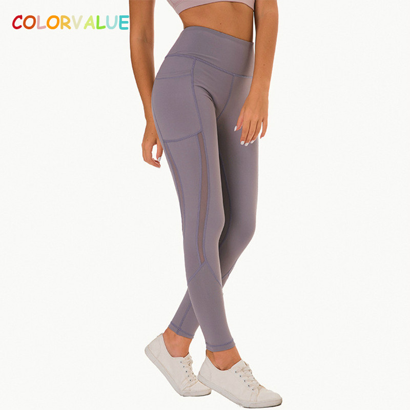 Colorvalue Sweatproof High Waist Sport Fitness Leggings Women Super Soft Nylon Squatproof Workout Yoga Tights with Side Pocket