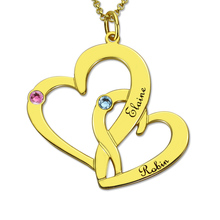 Gold-color Personalized Intertwined Hearts Birthstone Neckalce Engraved Two Double Heart Mother&Daughter Necklace