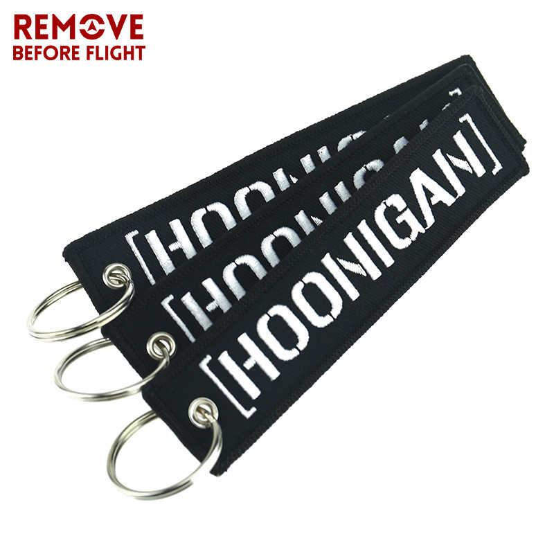 Модный брелок Hoonigan черная наклейка держатель для ключей для автомобилей и ключ мотоцикла Fobs remove Before Flight Hoonigan брелки