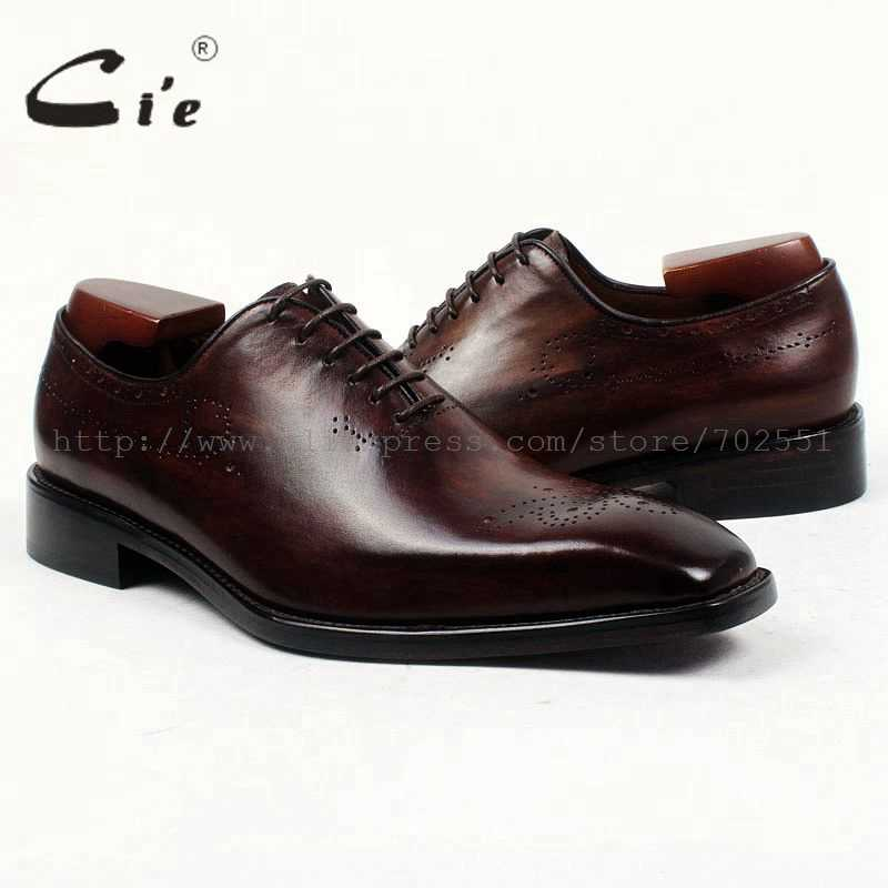 Cieสแควร์ธรรมดานิ้วเท้าทั้ง-ตัดpatinaสีน้ำตาลเข้มที่กำหนดเองหนังลูกวัวoutsoleระบายอากาศbespokeหนังผู้ชายรองเท้าที่ทำด้วยมือox415