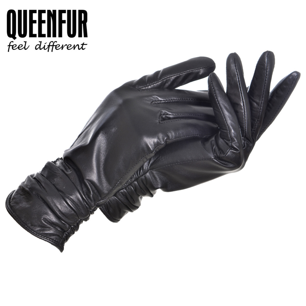 Womens black leather gloves medium - Black Real Leather Gloves Women Genuine Sheepskin Leather Cotton Lining Adult Winter Female Driving Warm Mittens