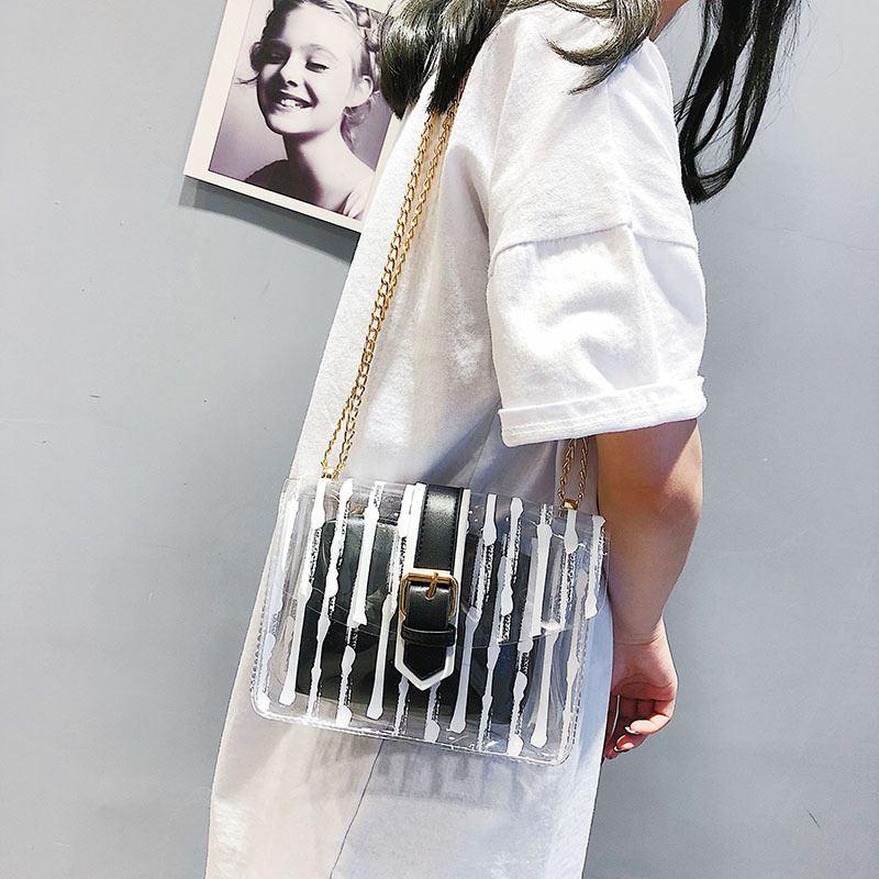 Adisputent Women Handbag Crossbody-Bag Beach-Bag Jelly Transparent Summer Chains Candy-Color