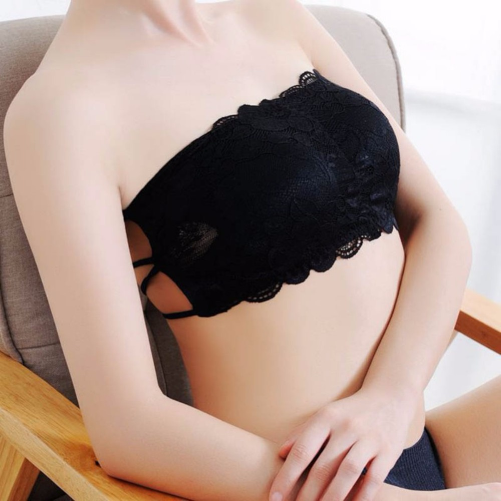 2017 Fashion New Sexy Women Cotton Hollow Back Bra 1pc Midriff Shirt Boob Tube Bandage Padded Wire Free fashion Bra Tops