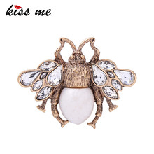 KISS ME Cute Clear Crystal Imitation Pearl Insect Bee Brooches for Women Charming Alloy Vintage Brooch Pin Jewelry Accessories(China)