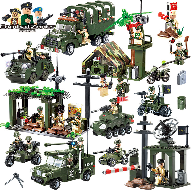 1Set Military Educational Building Blocks Toys For Children Gifts Army Cars Planes Helicopter Weapon Compatible With Legoe enlighten 1406 8 in 1 combat zones military army cars aircraft carrier weapon building blocks toys for children