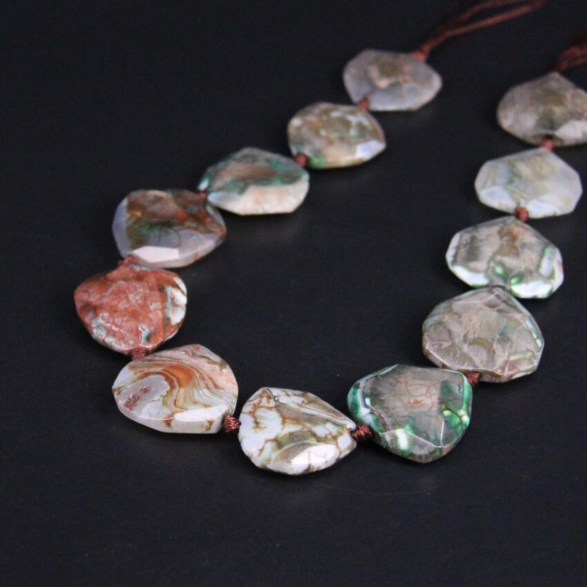 Approx12PCS/strand Green Brown Dragon Veins Raw Agates Faceted Slab Slice Beads,Natural Gems Stone Cut Nugget Pendants Jewelry