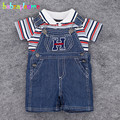 2Piece/0-24M/Summer Newborn Baby Boys Tracksuit For Kids Clothes Casual Stripe T-shirt+Cowboy Shorts Infant Clothing Sets BC1239