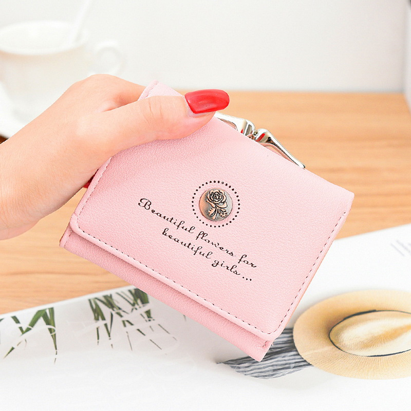 Adisputent Fashion Mini Purse Rose Flower Short Purse Threefold Wallet Women Handbags