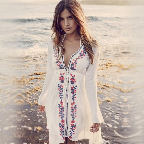 Letní styl Ethinc Ženy Výšivka Bavlna Plátěné Plážové Šaty Hluboký výstřih Dlouhý rukáv Neformální Bílé šaty Ženské Vestidos