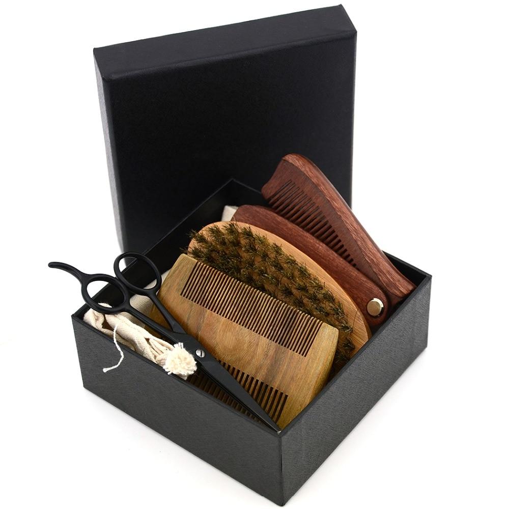 4in1 Men's Shaving Bristle Bamboo Brush Kit Mustache Beard Scissor Shear Natural Sandal Wood Folding Comb With Black Box