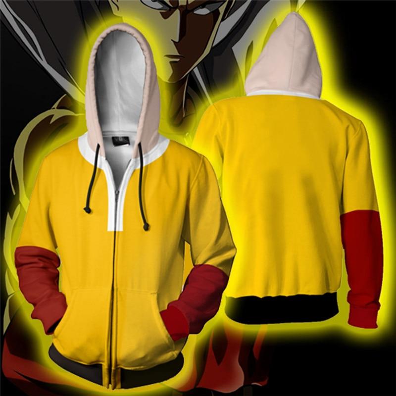 ONE PUNCH-MAN Cosplay Costume Men's Sweatshirt Hooded Uniform Streetwear Women Mens Hoodies Zipper Hoddies