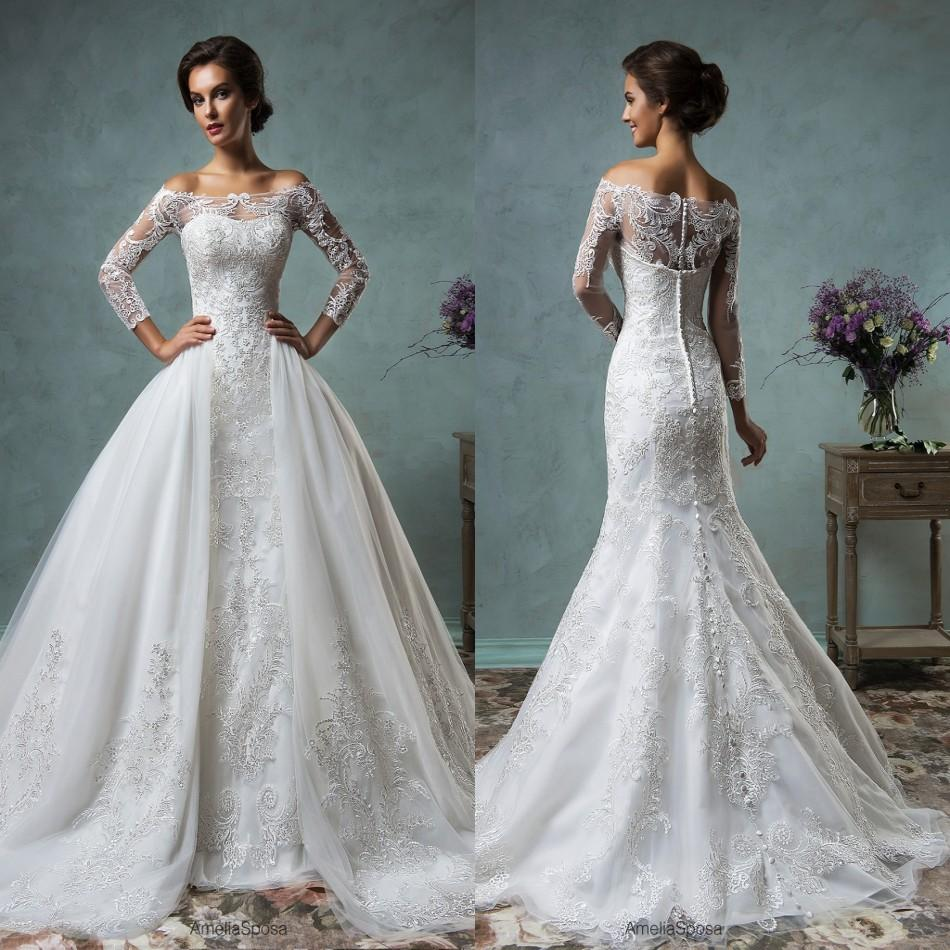2017 New Mermaid Lace Wedding Dress With Detachable Train Tulle Modern Bridal Gowns Vestido De Noiva Long Sleeve Transparent Topin Dresses From: Mermaid Wedding Dresses Sleeves Ball Gown At Reisefeber.org