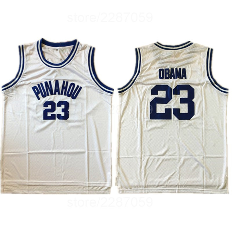 san francisco be6a8 fa9a3 Ediwallen Punahou Basketball Jerseys Wholesale College 23 Barack Obama  Jersey Men Blue Team Color White Sport Stitched Cheap-in Basketball Jerseys  ...