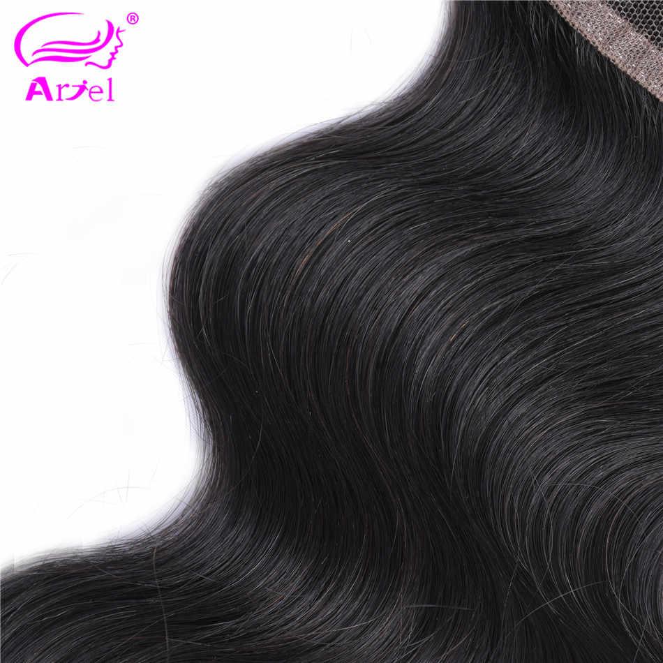 Cierre de onda del cuerpo de Ariel 4 × 4 Cierre de encaje cierre marrón Color Natural no Remy pieza de cierre de cabello humano peruano cierre Frontal
