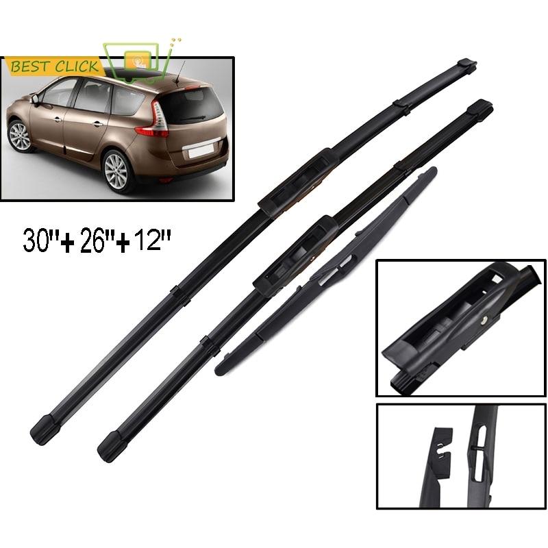 Misima frente traseiro windshield windscreen wiper blades conjunto para renault scenic 3 grand mk3 2009 2010 2011 2012 2013 2014 2015 2016