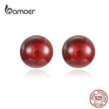 где купить BAMOER 925 Sterling Silver Red Garnet Beads Ball Stud Earrings for Women Natural Stone  Fine Jewelry Gifts GXE657 по лучшей цене
