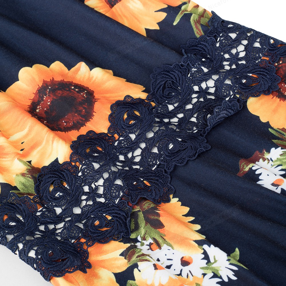 Nice-forever Vintage Elegant Embroidery Floral Lace Patchwork vestidos A-Line Pinup Business Women Party Flare Swing Dress A079 110