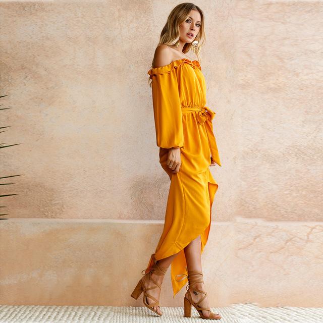 Off Shoulder Mustard Yellow Boho Dress