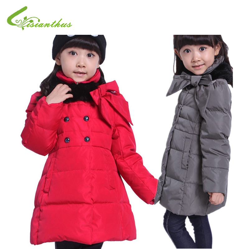 ФОТО Children Girls Down Jackets Kids Winter Coats Hooded Outwears Big Bow Decorated Clothes Long With Fur Scarf Clothing Drop Ship