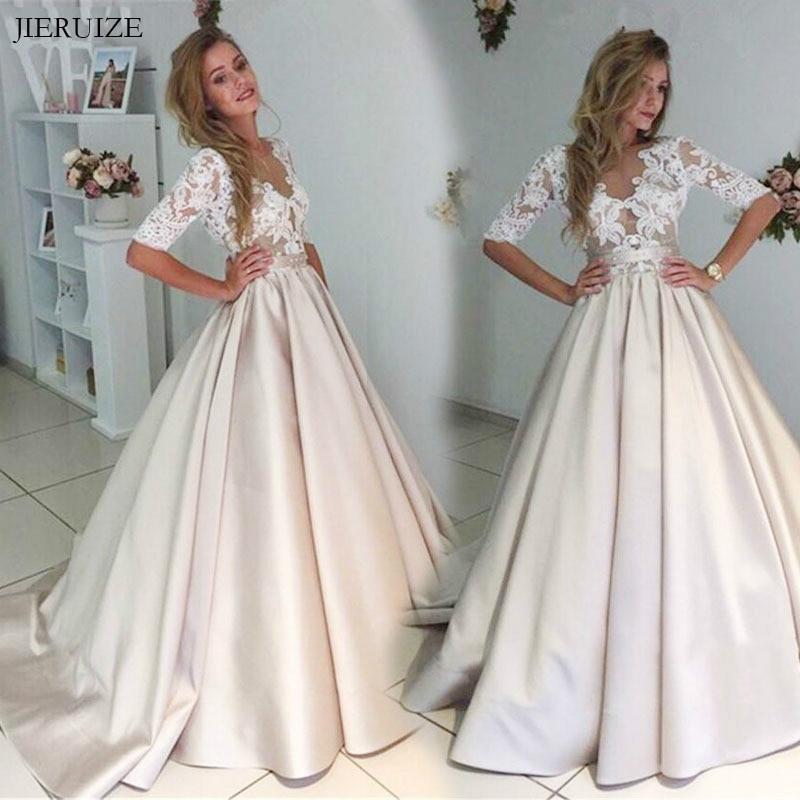 JIERUIZE ヴィンテージレースアップリケシャンパンのウェディングドレス 2019 ハーフスリーブシアーボタン花嫁のドレスウェディングドレスマリアージュ  グループ上の ウェディング & イベント からの ウェディングドレス の中 2