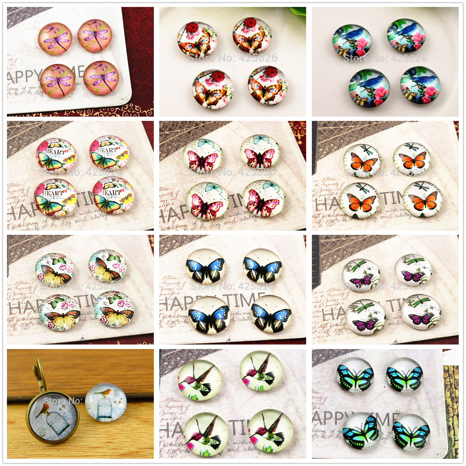 Hot Sale 20pcs 12mm Handmade Photo Glass Cabochons (Butterfly And Bird Series)