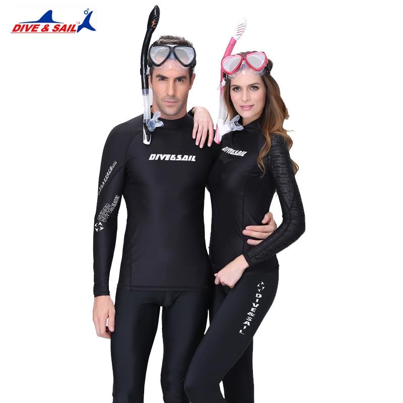 3c69faa7d7 Black UPF 50+ Lycra Sunscreen Dive Skin Anti-UV Wear Wet Suits Men Women
