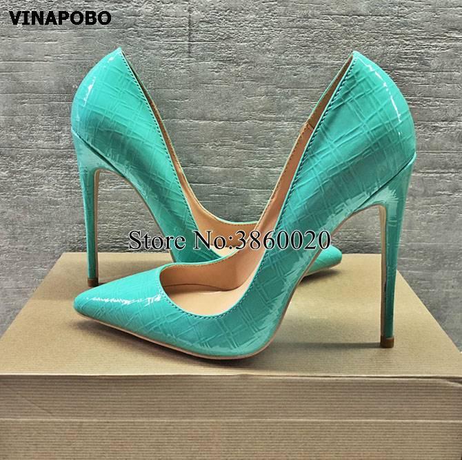 2019 Pumps Women High Heel 12/10/8cm Green Snake Print Pointed Toe Stilettos Wedding Shoes Brand Designer Shoes Patent Leather