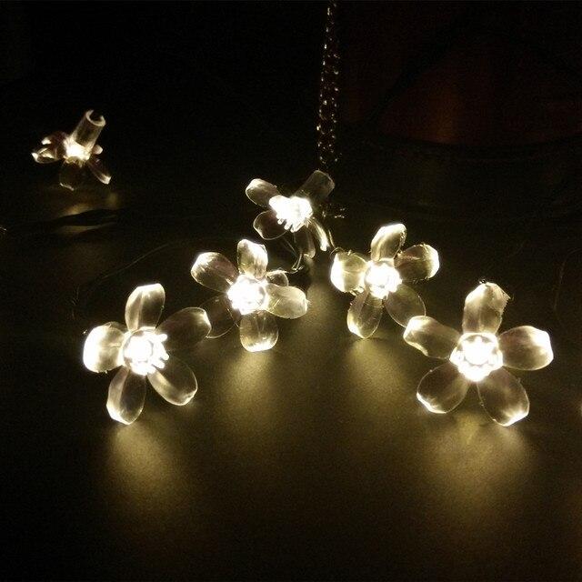 Attirant YIYANG 7M 50LEDS Sakura Flower Solar Lights String Fairy LED Garden Garland  Holiday Party Christmas Lighting