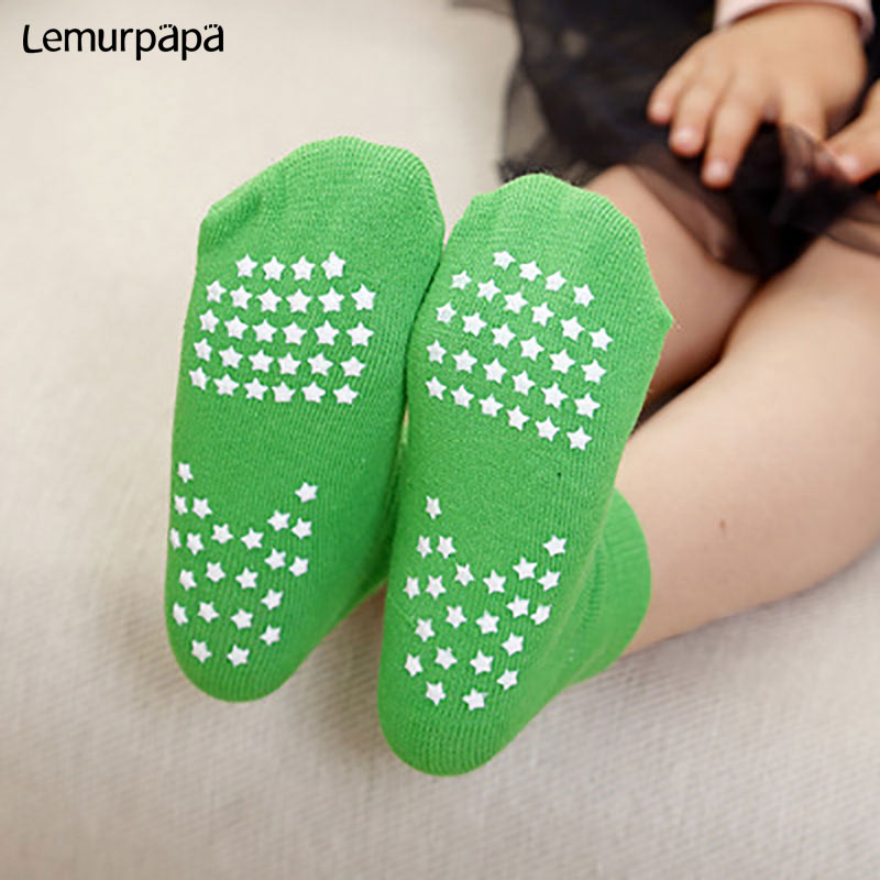 Boys Girls Anti-Slip Sock Children Cotton Stars Green Trampoline Sock 2-10T Kids Summer Sport Dancing Walking Short Ankle Socks