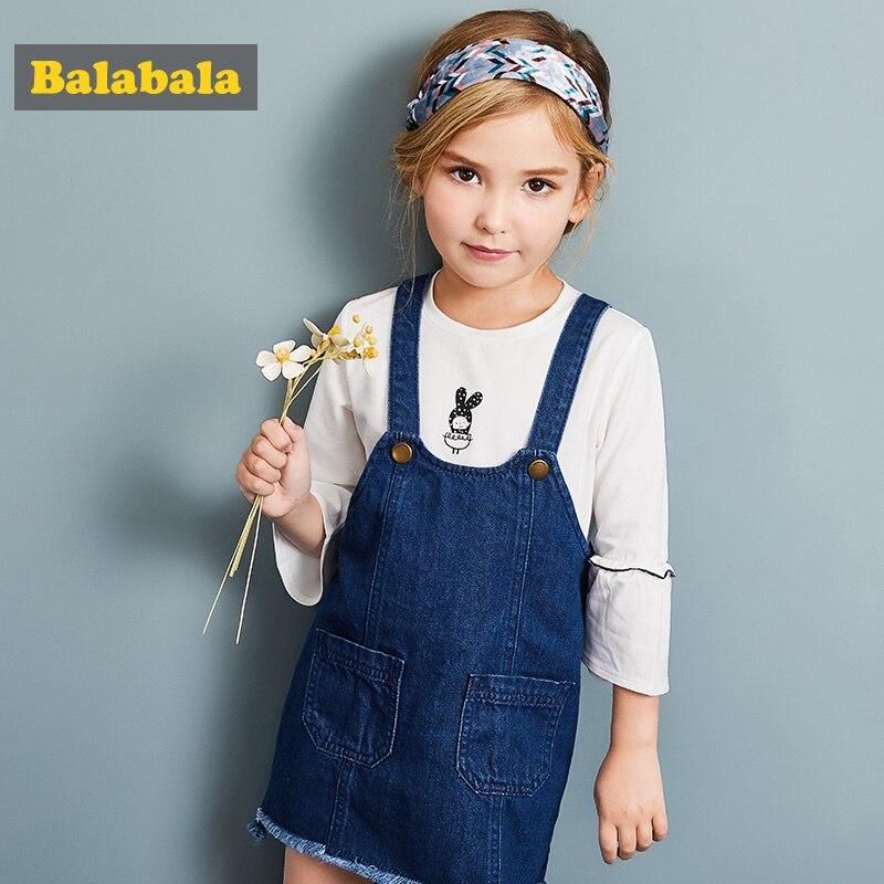 Balabala girls Denim Jeans dress clothing for children toddler kids clothing fashion Long Sleeve Christmas Dress for Girls платье mini balabala 52262140621