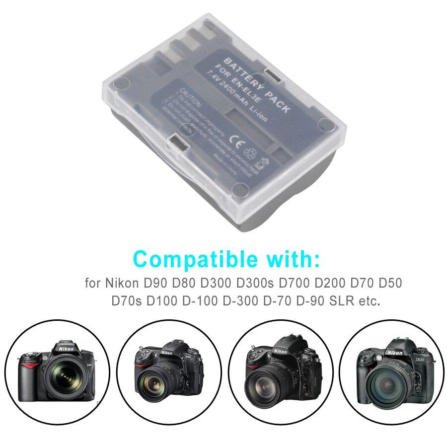 PALO 2PCS EN-EL3e EN EL3e ENEL3e Li-ion 2400mAh Rechargeable Digital Camera  Battery + Charger For Nikon D30 D50 D70 D90 D70S