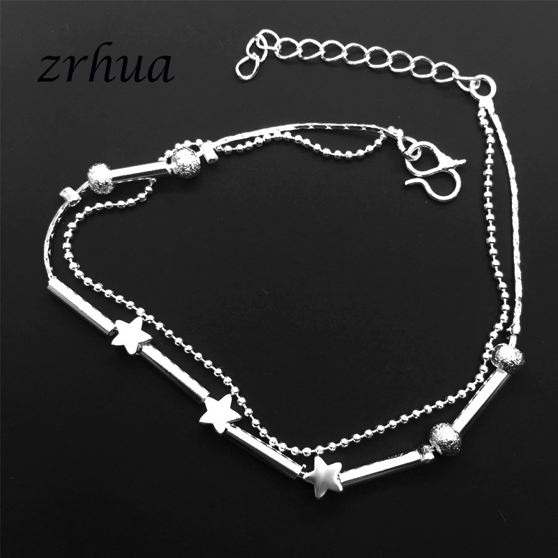 ZRHUA Beach Multilayer Star Beads Anklets Foot Chain 925 Sterling Silver Foot Anklet Bracelet For Fashion Women Jewelry 5