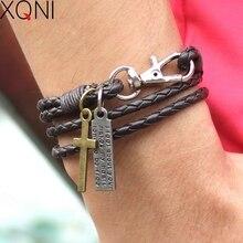 Новая мода повязка Пряжка ключ шаблон кожаный браслет популярный коричневый крест браслет дружбы для мужчин