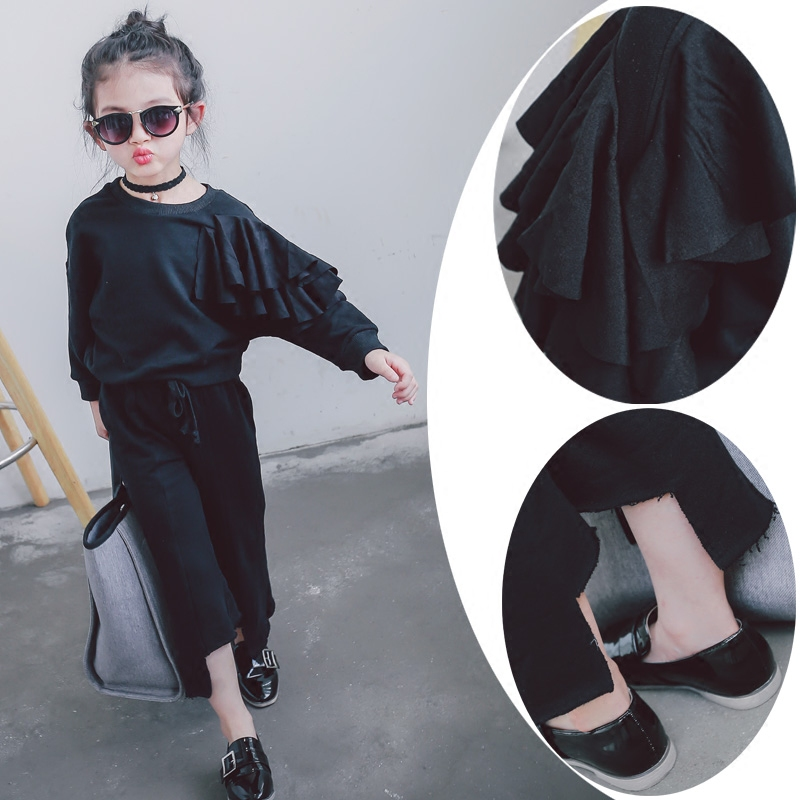 The child's fall 2016 new girls Korean cultivating lotus leaf edge set 2 piece sweater bellbottoms free shipping fall new korean girls scout s striped