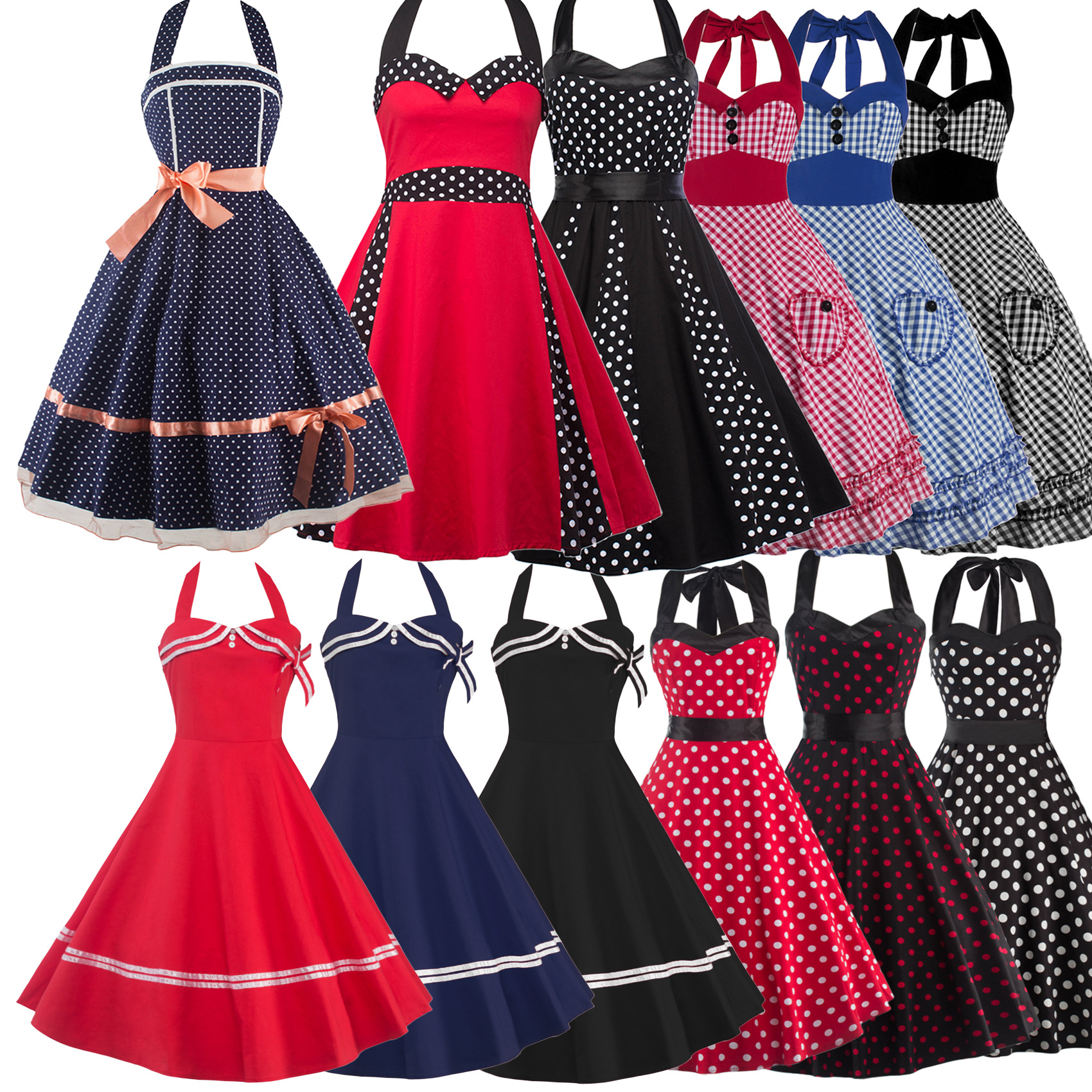 Women Dress Plus Size Summer Clothing 2017 Retro Swing Short Gown robe Pin up Dot Vintage 60s 50s Rockabilly Dresses