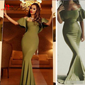 Sexy Saudi Arabia Dark Green Prom Dresses Off Shoulder Bubble Sleeve Cheap Floor Length Long Evening Gowns Spandex Stretch