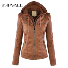 Hat Detachable Leather Jacket Women 2016 New Fashion Autumn Long Sleeve Coat Zipper Hooded Lapel PU Coats