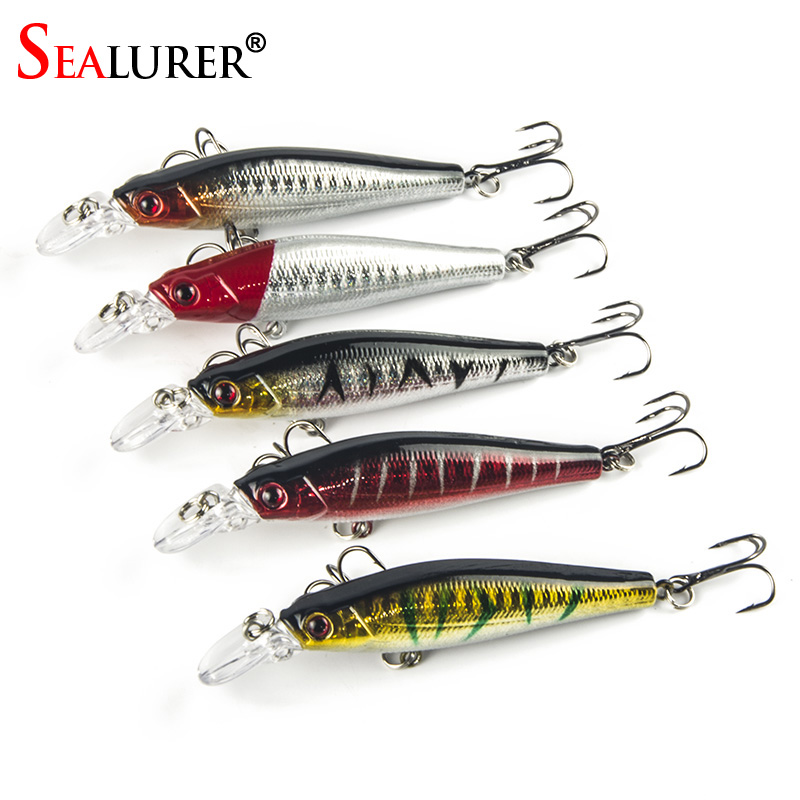 SEALURER Fishing Lures 5pcs/lot 3D Eyes Minnow Fishing Lure 8.5cm 8g Fishing Bait Fly Fishing Artificial Minnow Lifelike Bait