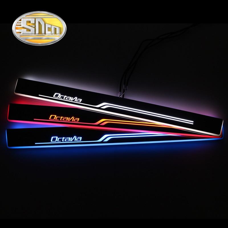 SNCN 4PCS Car LED Door Sill For Skoda Octavia 2015 2016 2017 2018 Ultra thin Acrylic