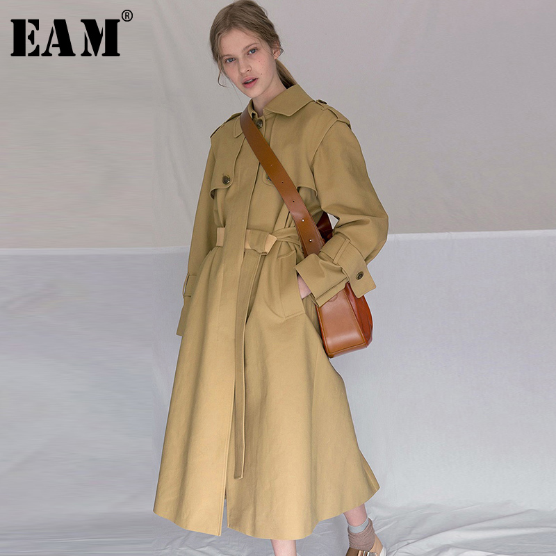EAM High Quality 2019 Spring Fashion New Women s Khaki Turn down Collar Single Breasted