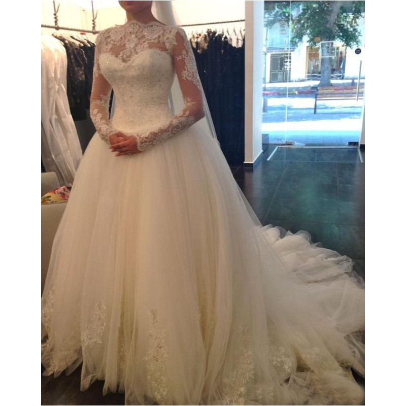 Hot Sale High Neck Long Sleeve Lace Wedding Dresses Beaded