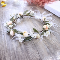 Hair Feather Hair Accessories Adjustable Hair Bands Wedding Flower Crown Handmade Round Flower Wreath Headband Hair